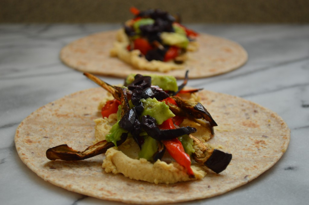 Kalamata, Hummus, Red Pepper, Eggplant and Avocado Wraps image