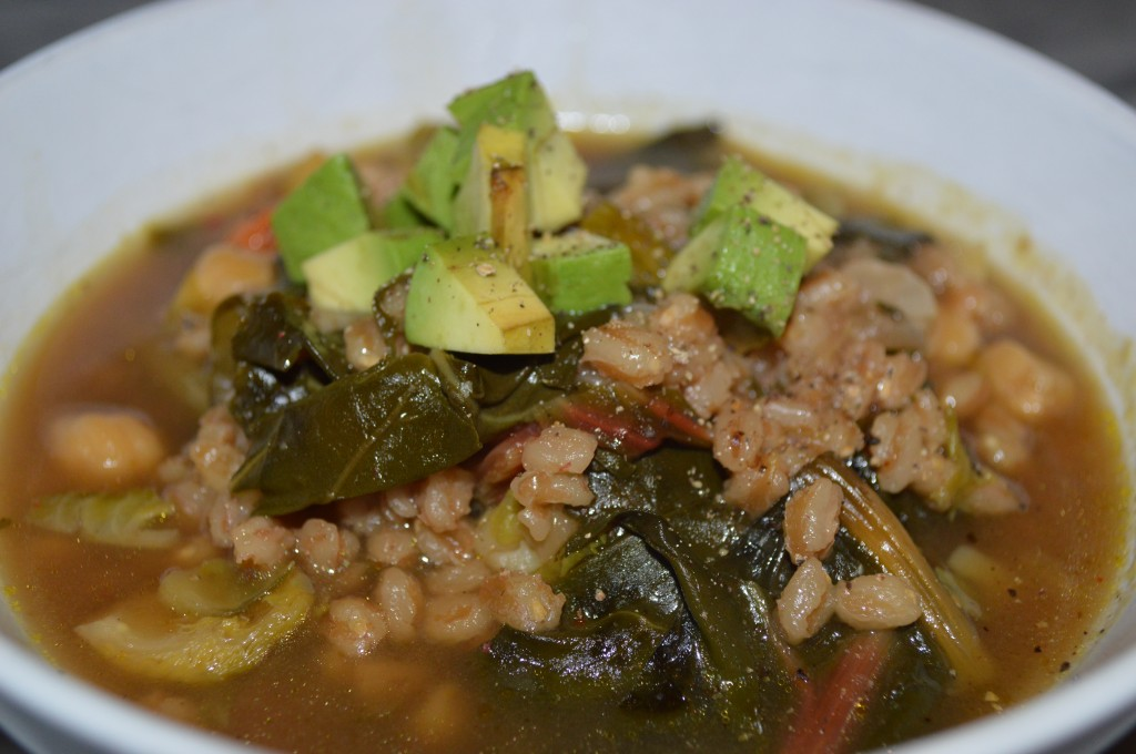 Winter Soup of Red Chard, Rainbow Carrots, Brussel Sprouts, Farro and Chickpeas image