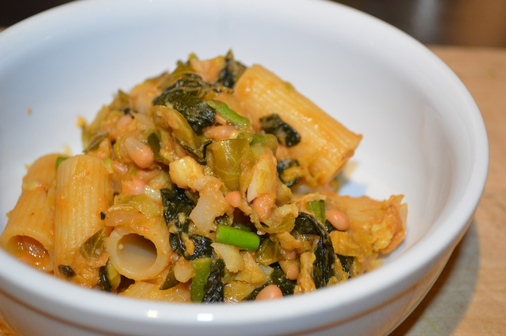 Comfort food at its best: Brussel Sprout, Kale, Asparagus and White Bean Pasta image