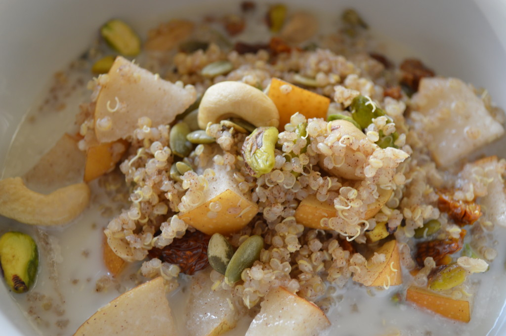 Warm Cinnamon Quinoa and Pear Cereal with Dried Fruit and ...