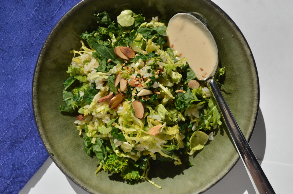 Kale, Brussel Sprout and Broccolini Salad with Creamy Tahini Dressing image