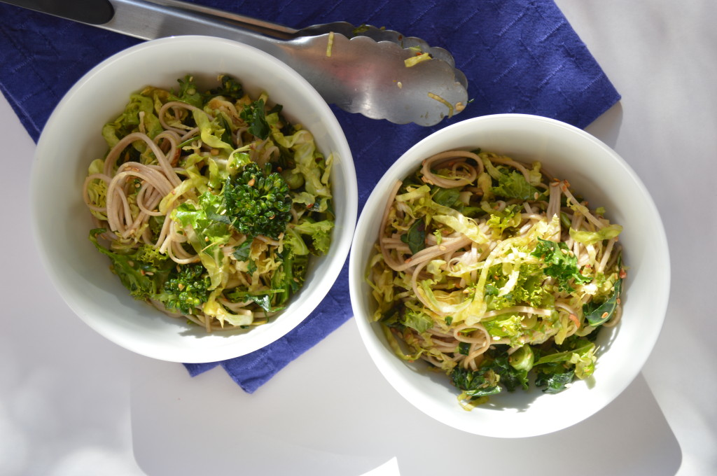 Kale, Brussel Sprout and Broccolini with Soba Noodles image